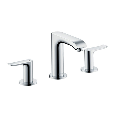 hansgrohe Metris 3-Hole Basin Mixer 100 with Pop-up Waste - 31083000