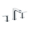hansgrohe Metris 3-Hole Basin Mixer 100 with Pop-up Waste - 31083000 profile small image view 1