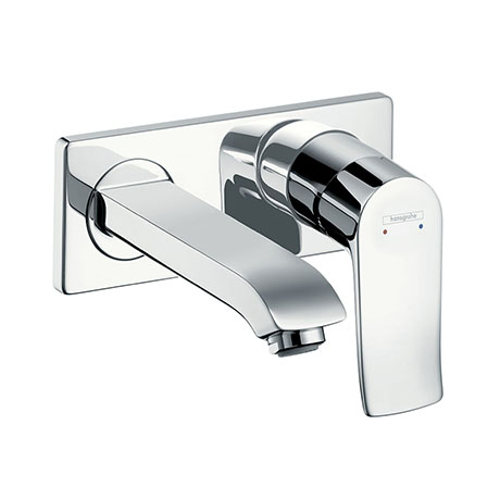 hansgrohe Metris Wall Mounted Single Lever Basin Mixer with Waste (Short Spout) - 31085000