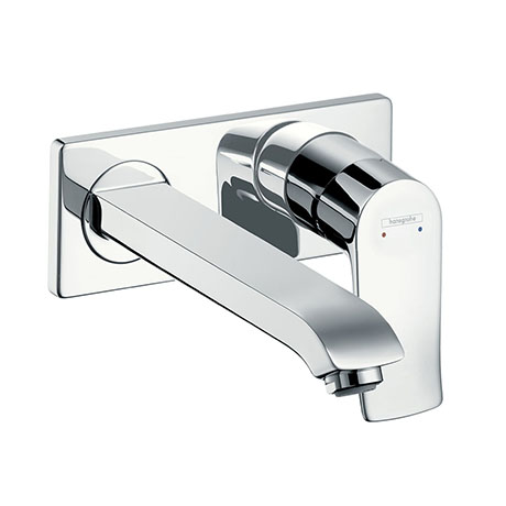 hansgrohe Metris Wall Mounted Single Lever Basin Mixer with Waste (Long Spout) - 31086000