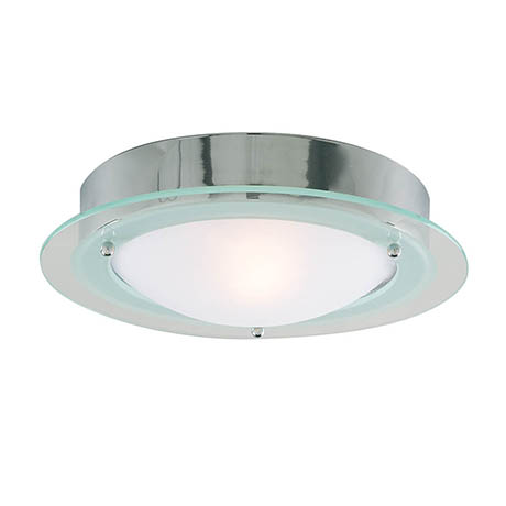 Searchlight Chrome Flush Fitting with Opal Glass - 3108CC