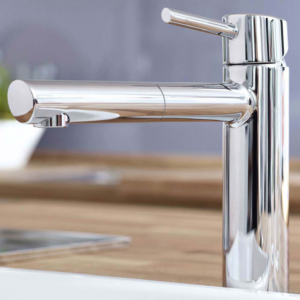Grohe Concetto Kitchen Sink Mixer with Pull Out Spray - Chrome - 31129001 profile large image view 2