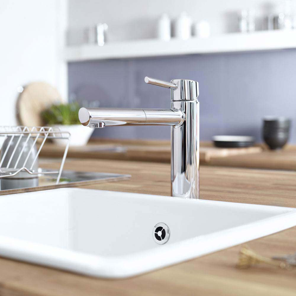 Grohe Concetto Kitchen Sink Mixer with Pull Out Spray - Chrome - 31129001 profile large image view 3
