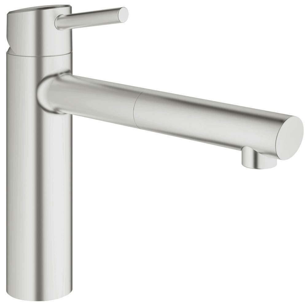 Grohe Concetto Kitchen Sink Mixer with Pull Out Spray - SuperSteel - 31129DC1 Large Image