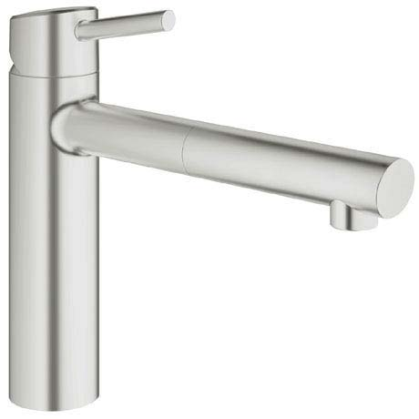 Grohe Concetto Kitchen Sink Mixer with Pull Out Spray - SuperSteel - 31129DC1