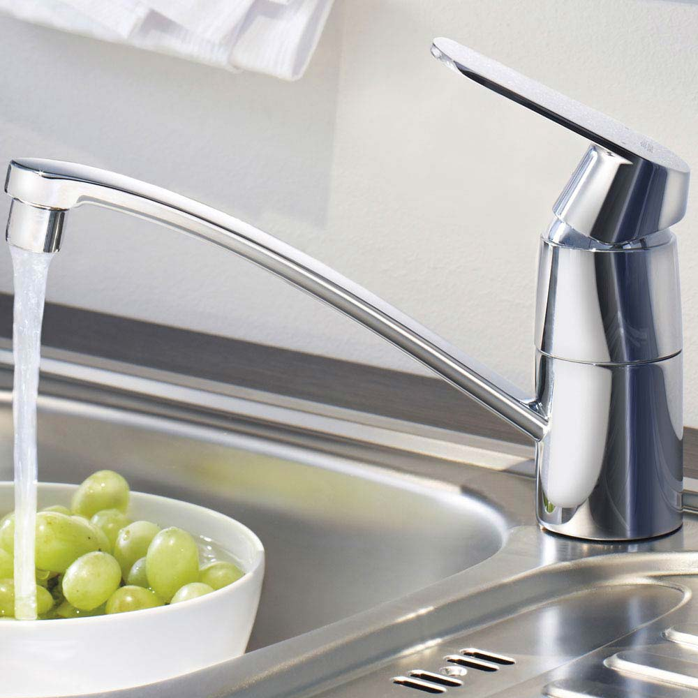 Grohe Eurosmart Cosmopolitan Kitchen Sink Mixer with Shut-Off Valve - 31161000 profile large image view 3