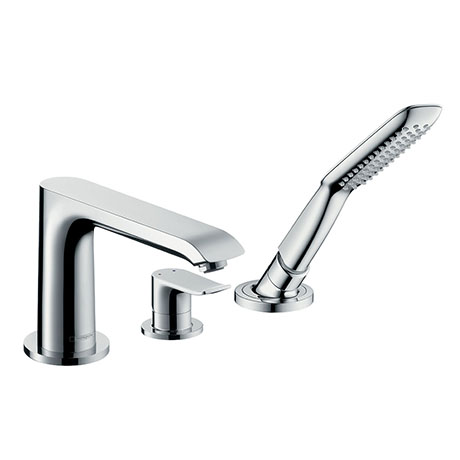 hansgrohe Metris 3-Hole Deck Mounted Single Lever Bath Mixer - 31190000