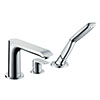 hansgrohe Metris 3-Hole Deck Mounted Single Lever Bath Mixer - 31190000 profile small image view 1