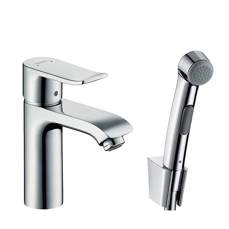 hansgrohe Metris Single Lever Basin Mixer 100 with Bidet Spray and 160cm Shower Hose - 31285000