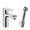 hansgrohe Metris Single Lever Basin Mixer 100 with Bidet Spray and 160cm Shower Hose - 31285000 profile small image view 1