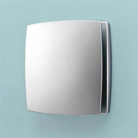 HIB Breeze Wall Mounted Bathroom Fan with Timer - Matt Silver - 31300