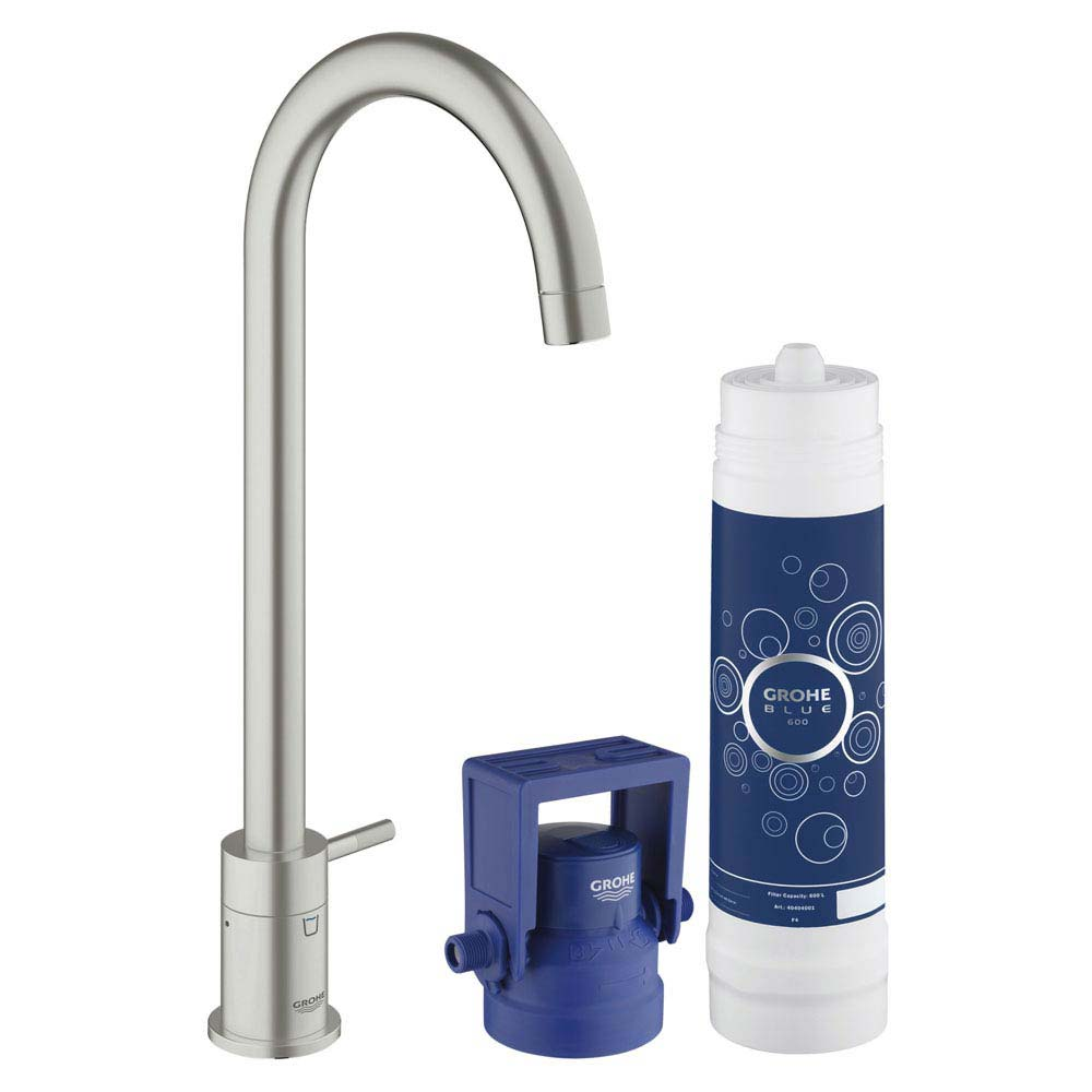 Grohe Blue Mono Pure Starter Kit - SuperSteel - 31301DC1 profile large image view 1