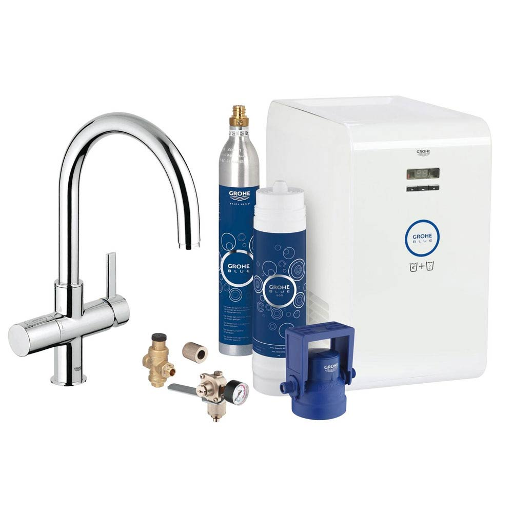 grohe blue chilled sparkling starter kit with c spout. Black Bedroom Furniture Sets. Home Design Ideas