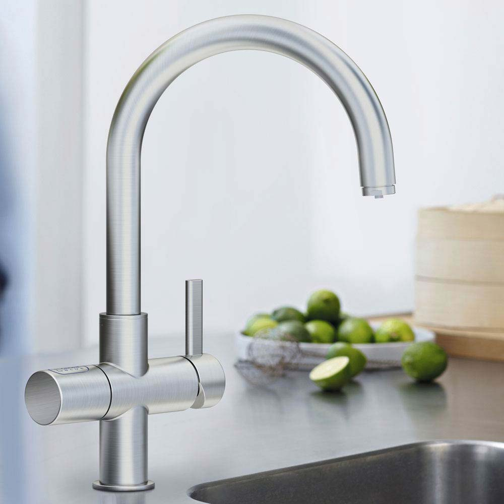 Grohe Blue Chilled & Sparkling Starter Kit with C-Spout Tap - SuperSteel - 31323DC1 profile large image view 2