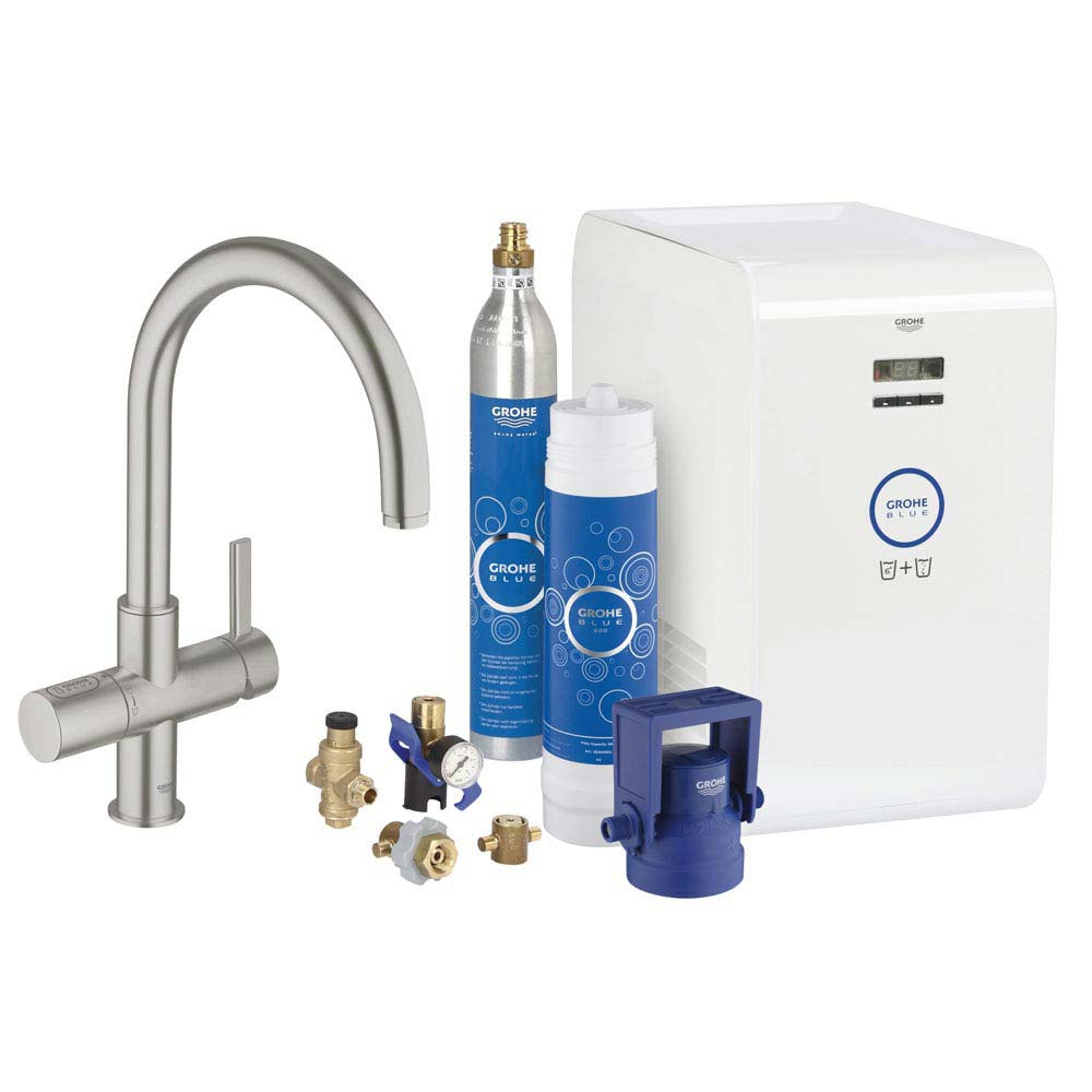 Grohe Blue Chilled & Sparkling Starter Kit with C-Spout Tap - SuperSteel - 31323DC1 Large Image