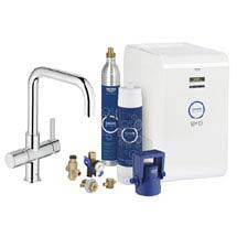 Grohe Blue Chilled & Sparkling Starter Kit with U-Spout Tap - Chrome - 31324001 Medium Image