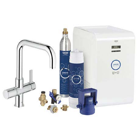 Grohe Blue Chilled & Sparkling Starter Kit with U-Spout Tap - Chrome - 31324001