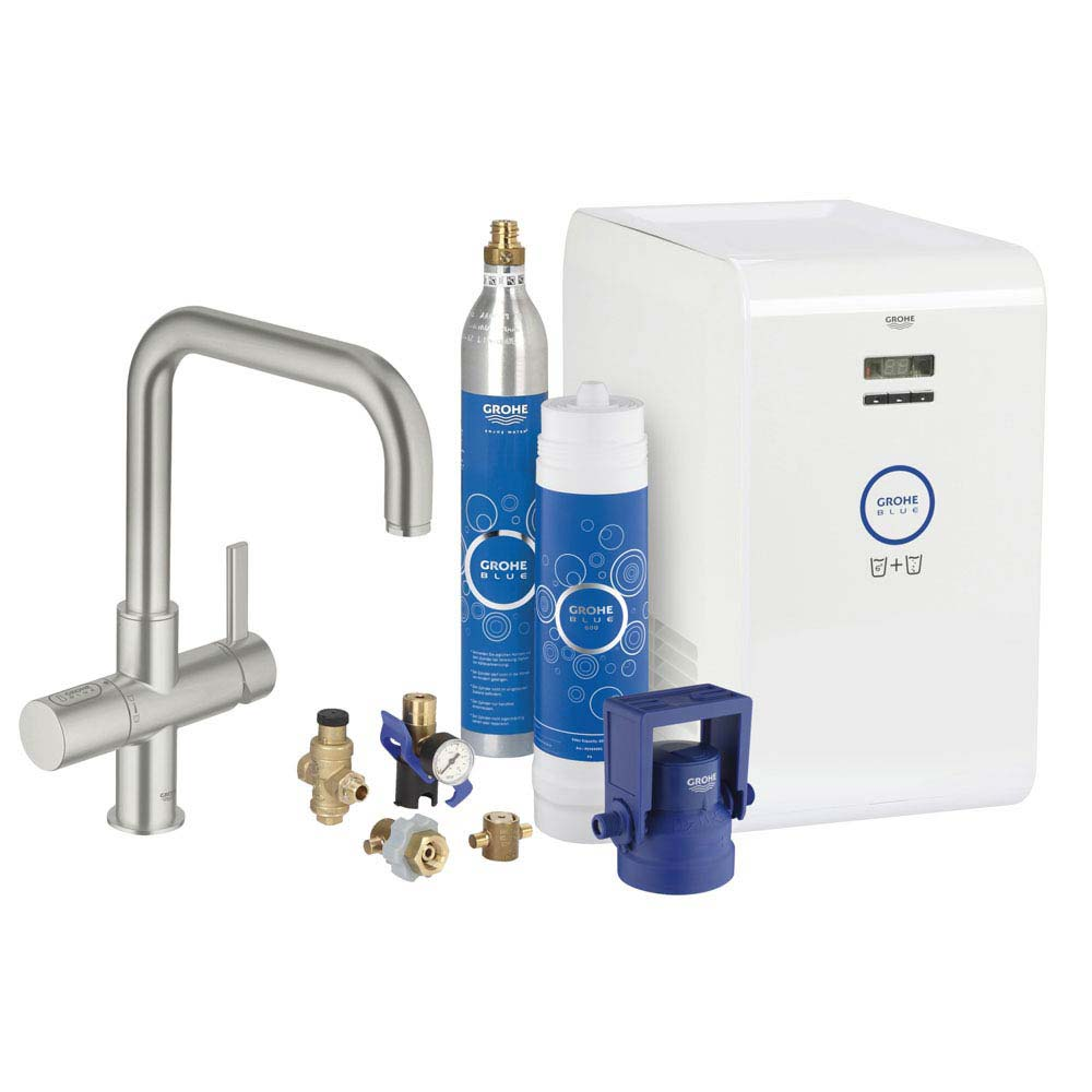 Grohe Blue Chilled & Sparkling Starter Kit with U-Spout Tap - SuperSteel - 31324DC1 Large Image