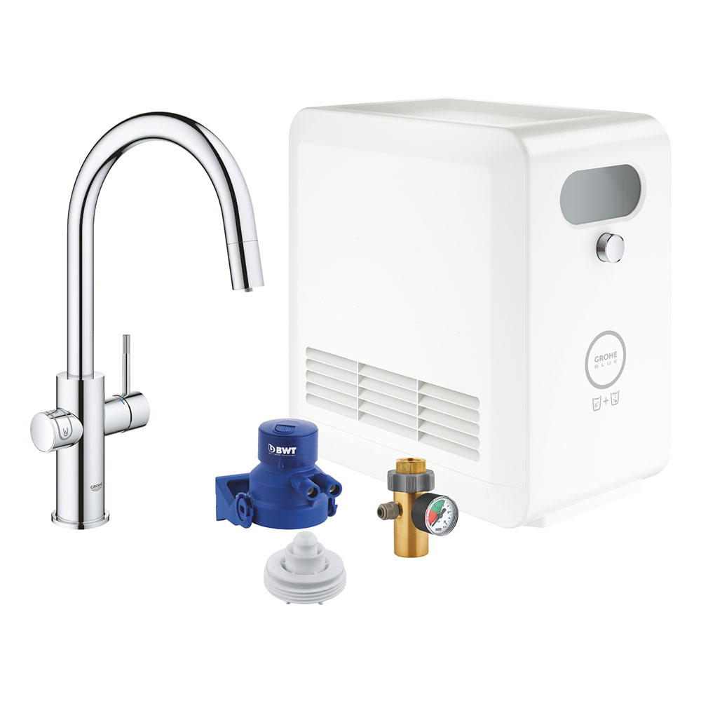 Grohe Blue Professional Duo Starter Kit C-Spout with Pull-Out Spray - Chrome - 31325002