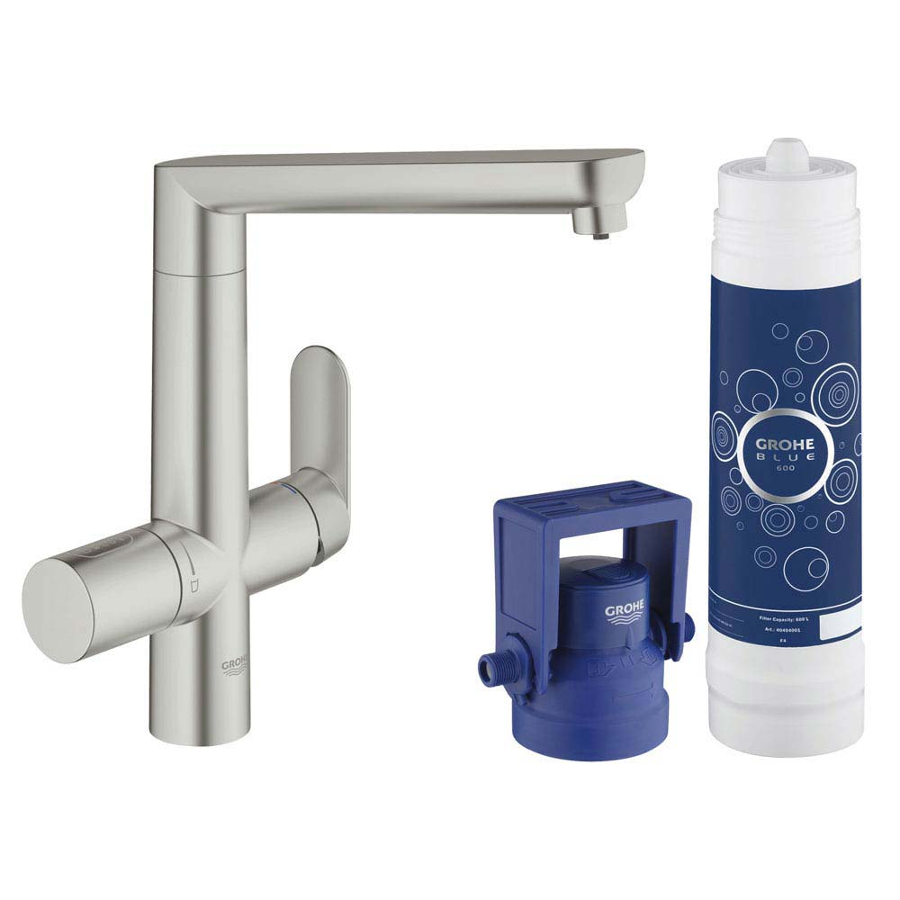 Grohe Blue K7 Pure Starter Kit - SuperSteel - 31344DC1 profile large image view 1