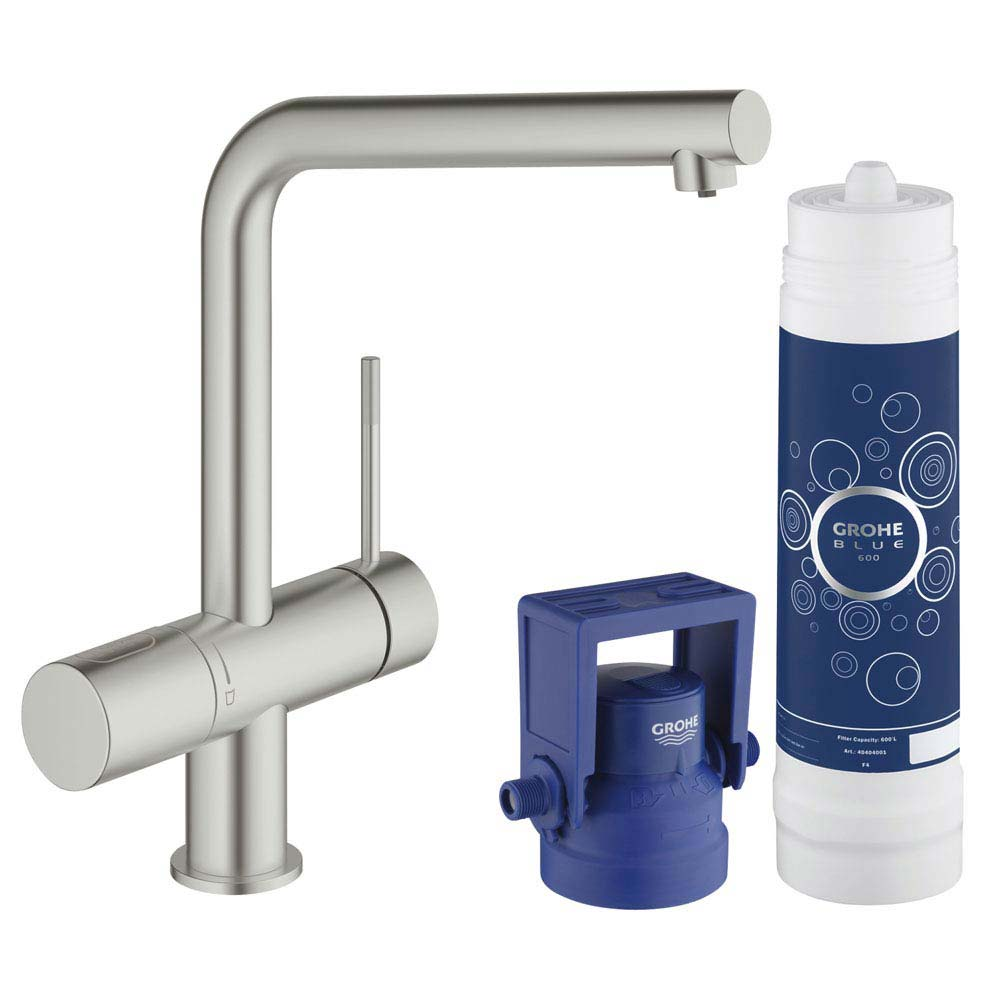 Grohe Blue Minta Pure Starter Kit - SuperSteel - 31345DC2 profile large image view 1