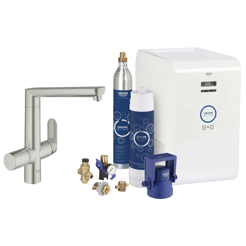 Grohe Blue Chilled & Sparkling Starter Kit with K7 Tap - SuperSteel - 31346DC1 Large Image