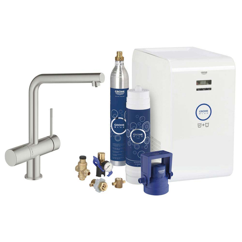 Grohe Blue Chilled & Sparkling Starter Kit with Minta Tap - SuperSteel - 31347DC2 Large Image