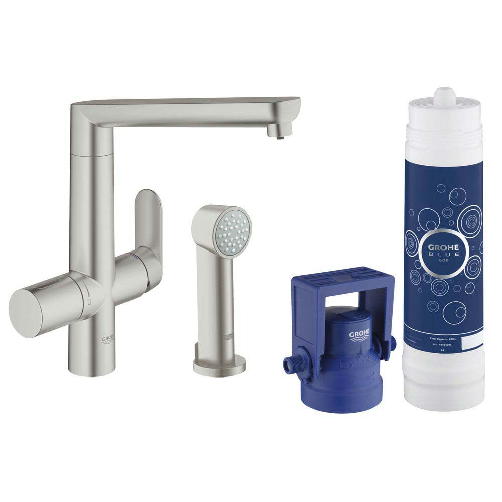 Grohe Blue K7 Pure Starter Kit with Side Spray - SuperSteel - 31354DC1 profile large image view 1