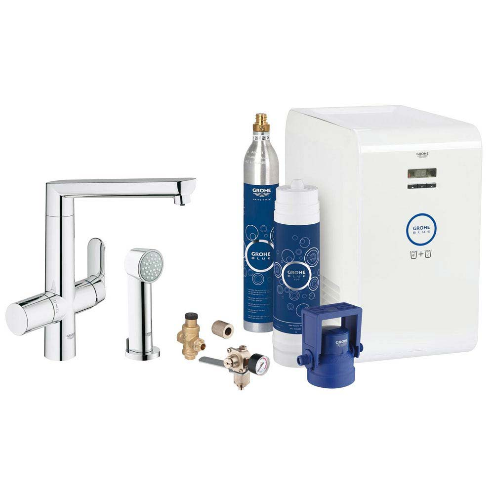 Grohe Blue K7 Chilled & Sparkling Starter Kit with Side Spray - Chrome - 31355001 Large Image