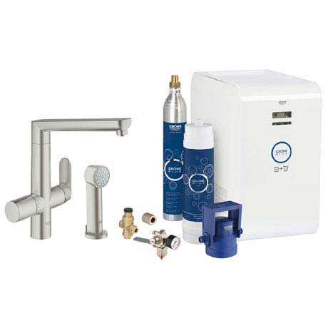 Grohe Blue K7 Chilled & Sparkling Starter Kit with Side Spray - SuperSteel - 31355DC1