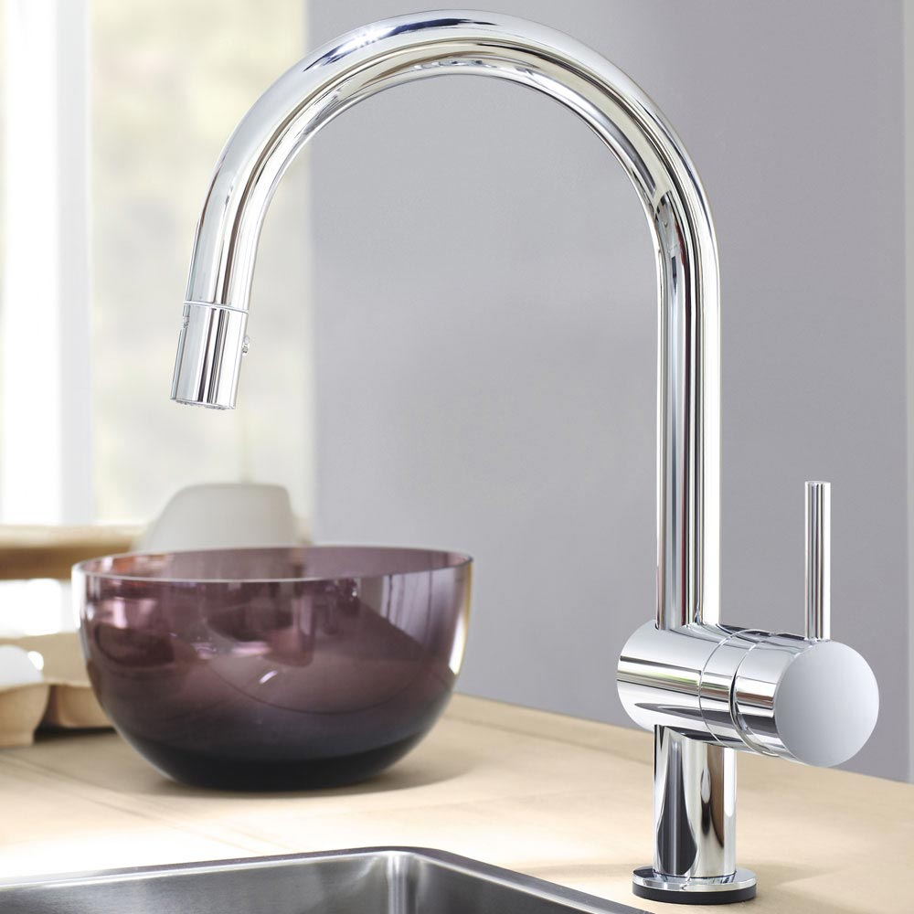 Grohe Minta Touch Electronic Kitchen Sink Mixer with Pull Out Spray - Chrome - 31358000  Profile Large Image