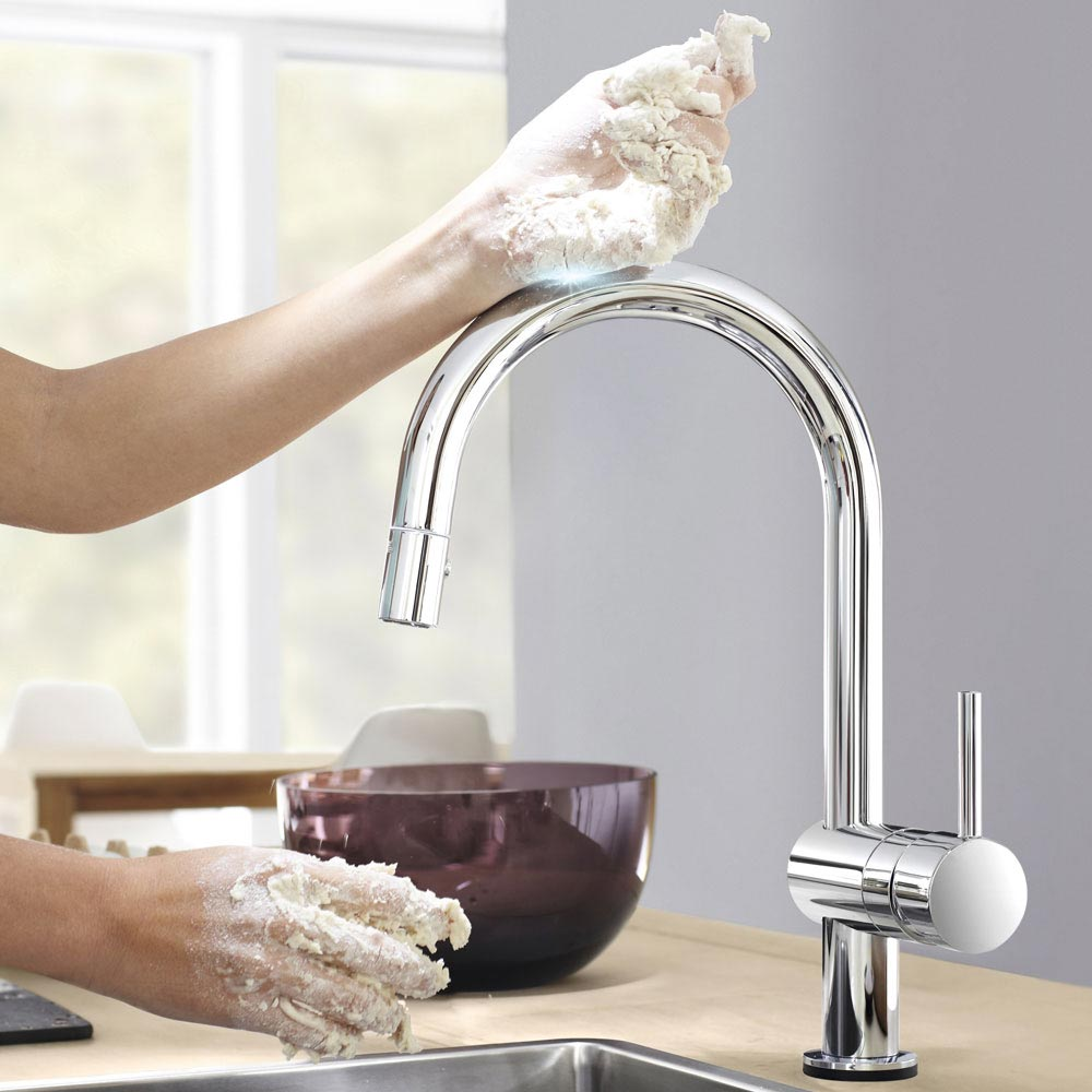 Grohe Minta Touch Electronic Kitchen Sink Mixer with Pull Out Spray - Chrome - 31358000  Feature Large Image