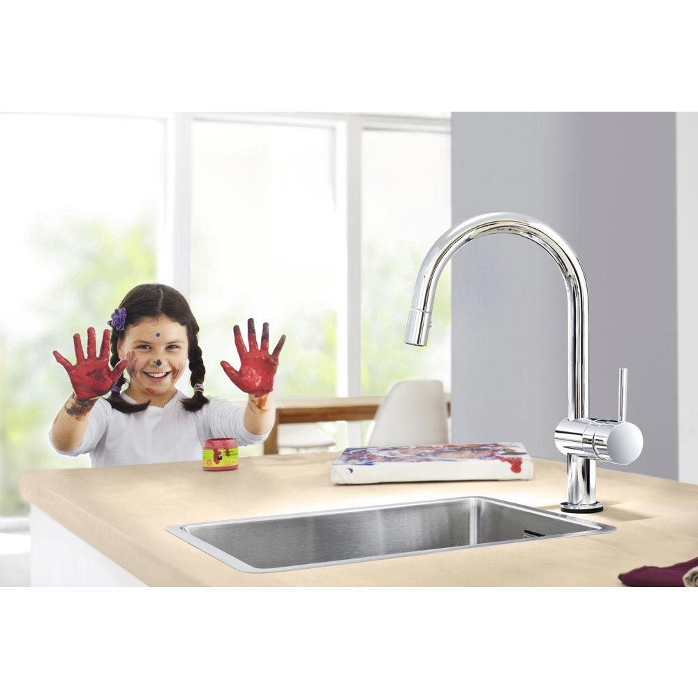Grohe Minta Touch Electronic Kitchen Sink Mixer with Pull Out Spray - Chrome - 31358000  In Bathroom Large Image
