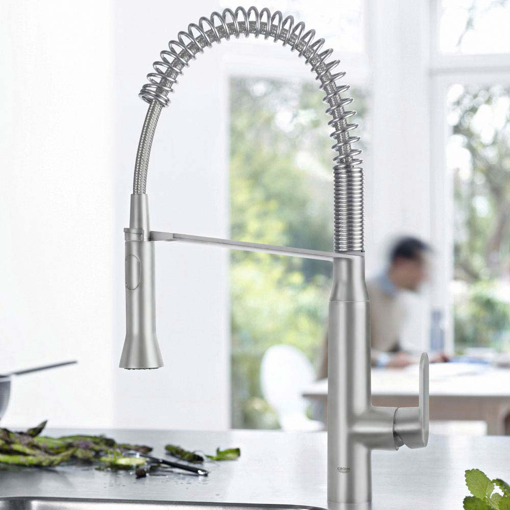Grohe K7 Kitchen Sink Mixer with Professional Spray - SuperSteel - 31379DC0 profile large image view 2