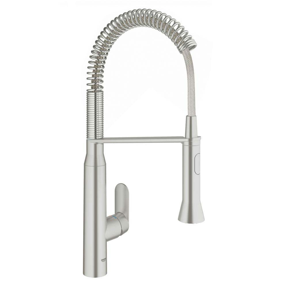 Grohe K7 Kitchen Sink Mixer with Professional Spray - SuperSteel - 31379DC0 profile large image view 1