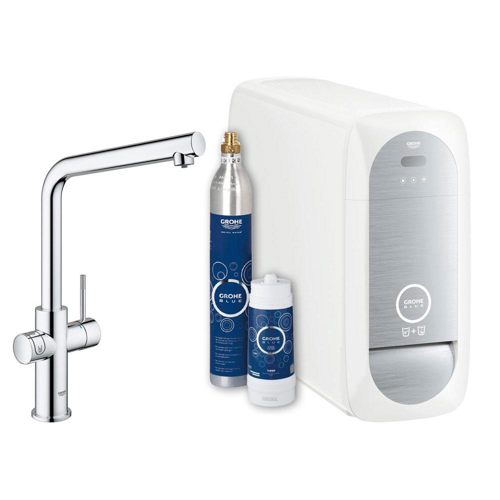Grohe L-Spout Blue Home Duo Starter Kit - Chrome - 31454000 Large Image