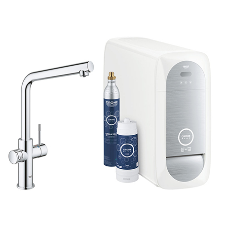 Grohe L-Spout Blue Home Duo Starter Kit - Chrome - 31454001