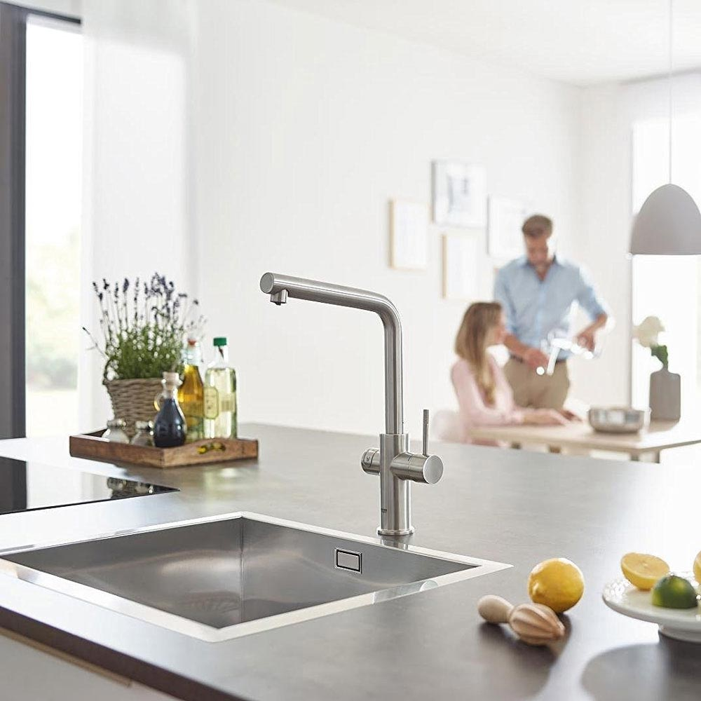 Grohe L-Spout Blue Home Duo Starter Kit - Stainless Steel - 31454DC0  additional Large Image