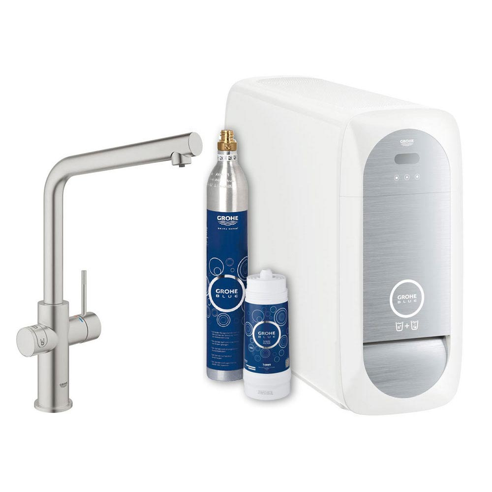 Grohe L-Spout Blue Home Duo Starter Kit - Stainless Steel - 31454DC0 profile large image view 1