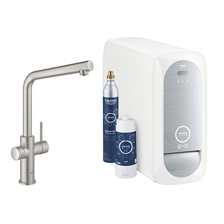 Grohe L-Spout Blue Home Duo Starter Kit - Stainless Steel - 31454DC1