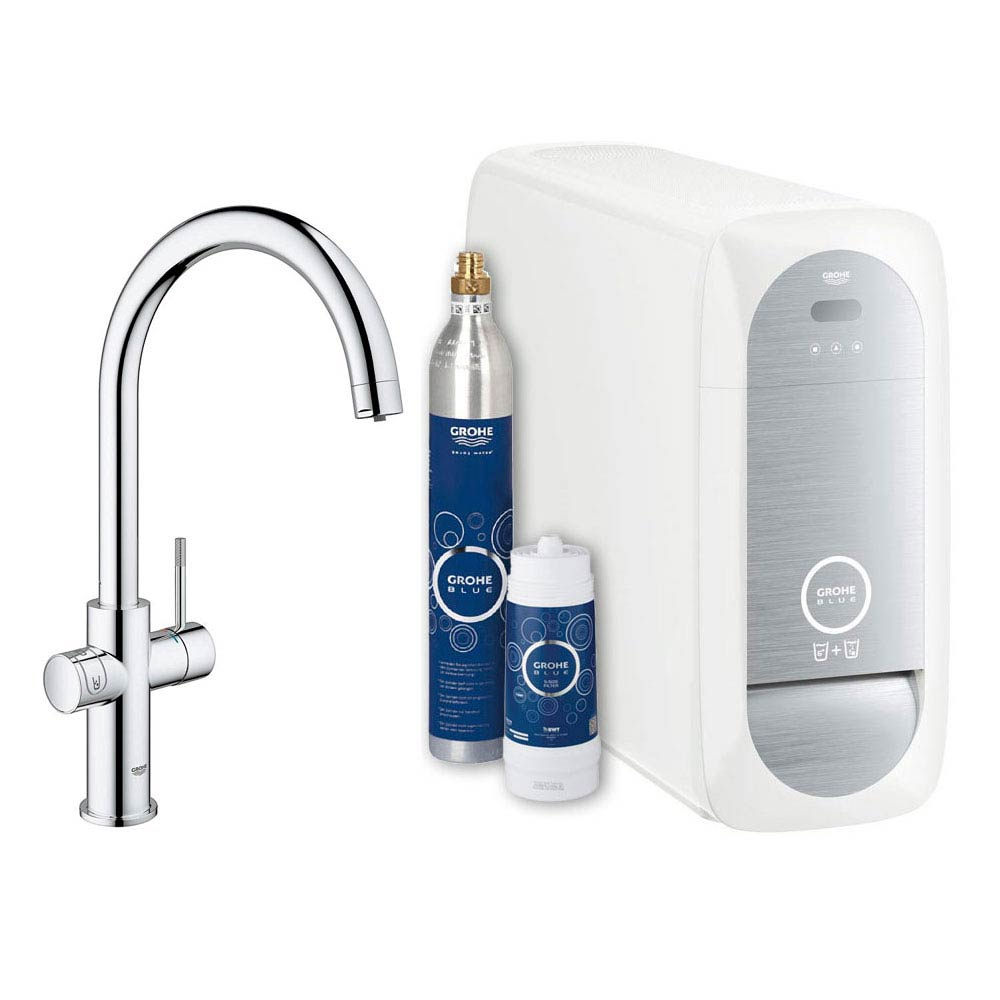 Grohe C-Spout Blue Home Duo Starter Kit - Chrome - 31455000 Large Image