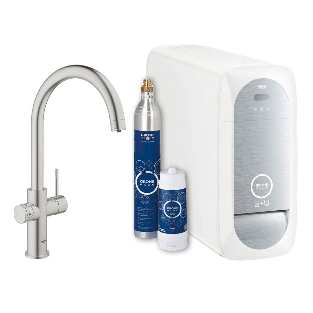 Grohe C-Spout Blue Home Duo Starter Kit - Stainless Steel - 31455DC0 Large Image