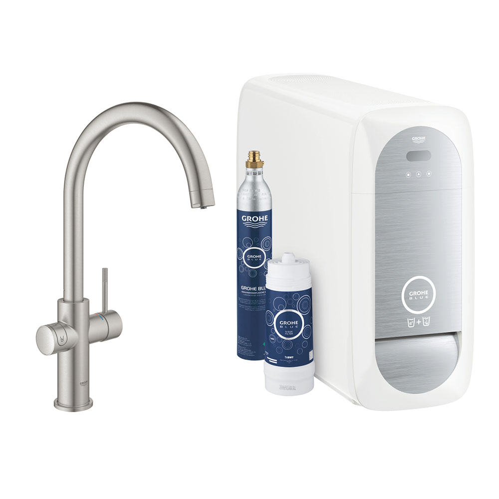 Grohe C-Spout Blue Home Duo Starter Kit - Stainless Steel - 31455DC1