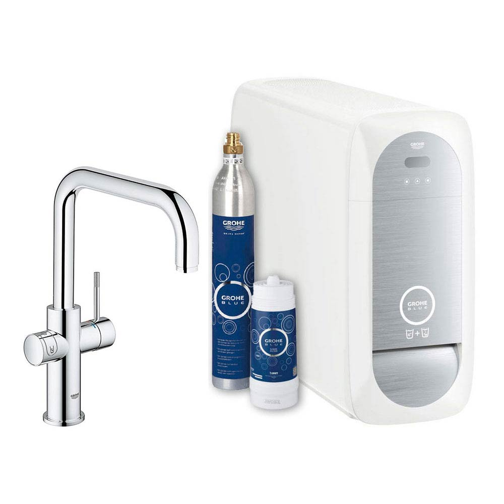 Grohe U-Spout Blue Home Duo Starter Kit - Chrome - 31456000 Large Image