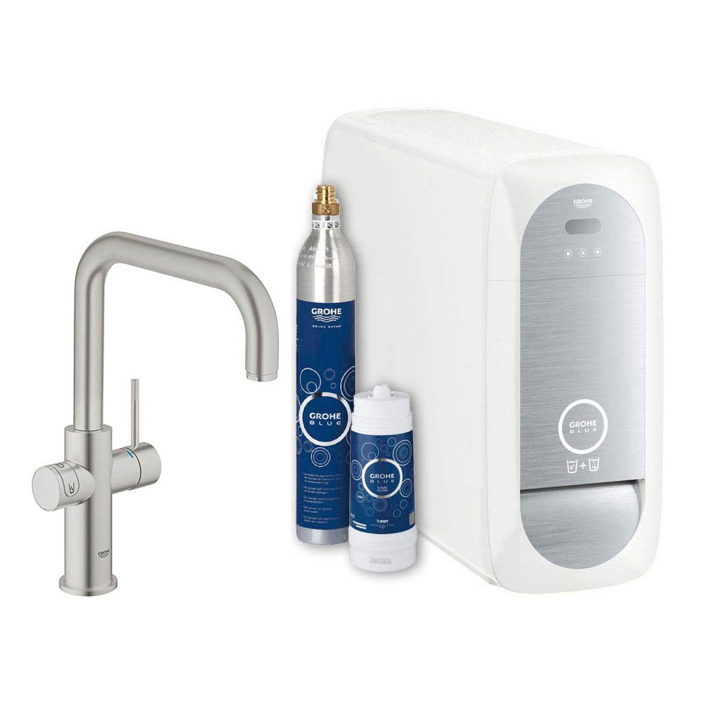 Grohe U-Spout Blue Home Duo Starter Kit - Stainless Steel - 31456DC0 Large Image