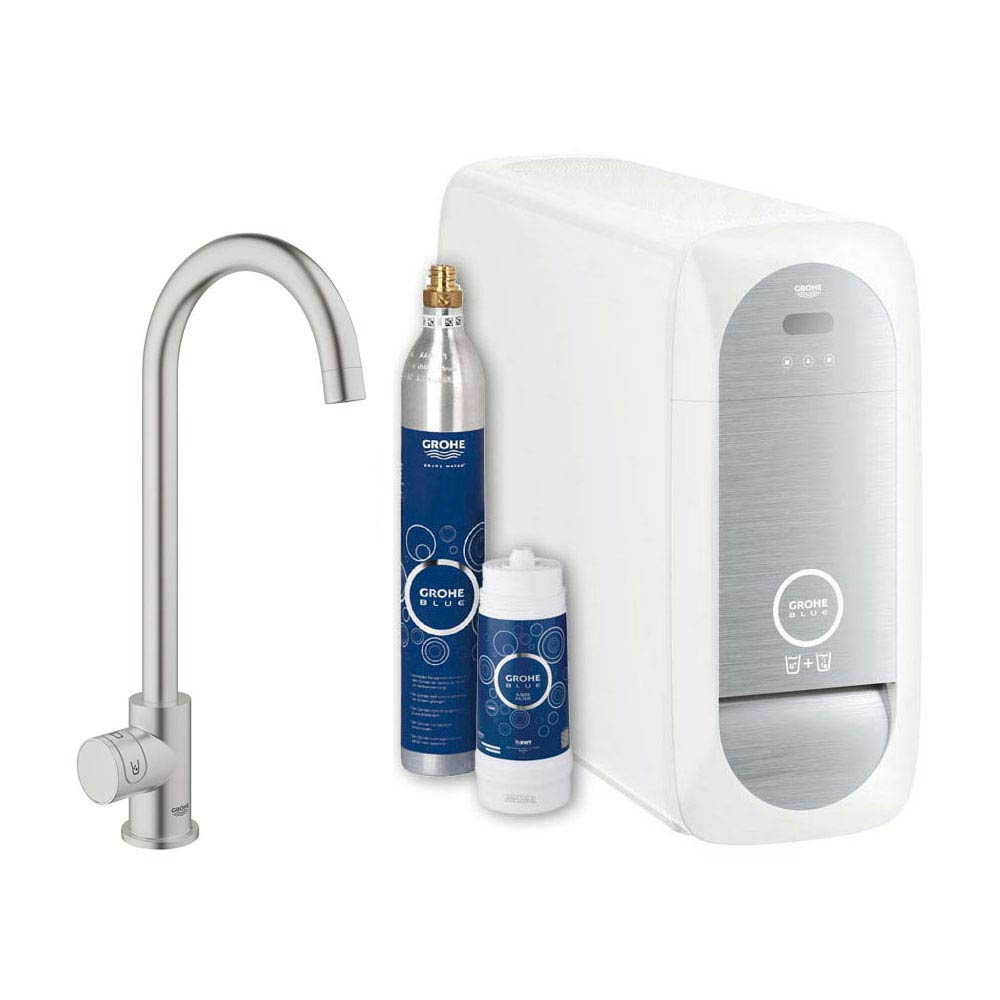Grohe High C-Spout Mono Blue Home Duo Starter Kit - Stainless Steel - 31498DC0 Large Image