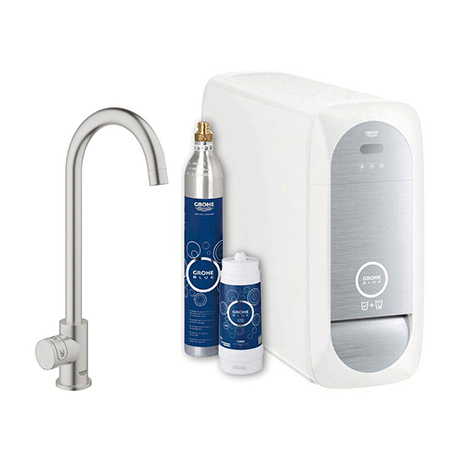 Grohe High C-Spout Mono Blue Home Starter Kit - Stainless Steel - 31498DC1