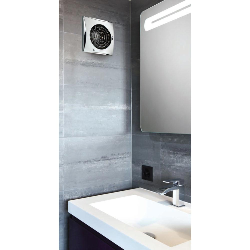 HIB Hush Wall Mounted Bathroom Fan with Timer & Humidity Sensor - Matt Silver - 31800 profile large image view 2