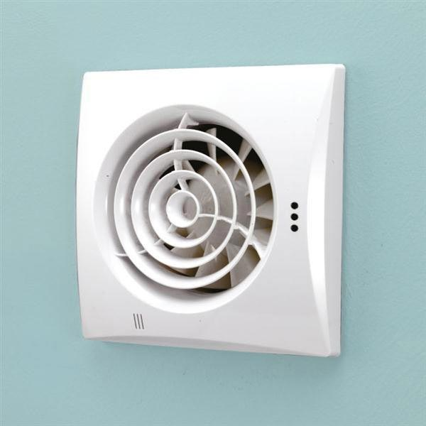 HIB Hush Wall Mounted Bathroom Fan with Timer & Humidity Sensor - White - 31600