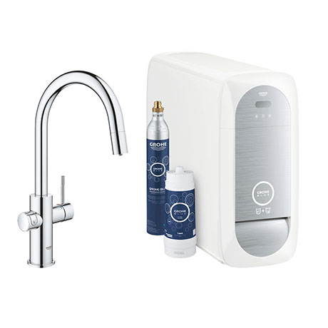 Grohe Blue Home Duo Starter Kit C-Spout with Pull-Out Spray - Chrome - 31541000